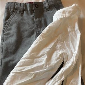 White button up and grey dress pants